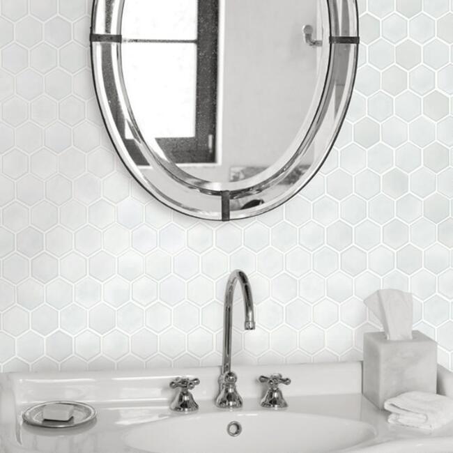 Metallic Pearl Honeycomb Tile Peel And Stick Wallpaper Hexagon Tiles Small Bathroom Decor Honeycomb Tile
