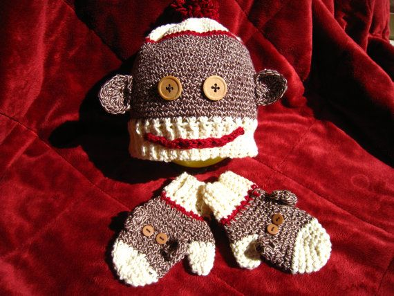 Free Crochet Pattern For Sock Monkey Mittens : 301 best images about CROCHET SOCK MONKEY ITEMS on ...