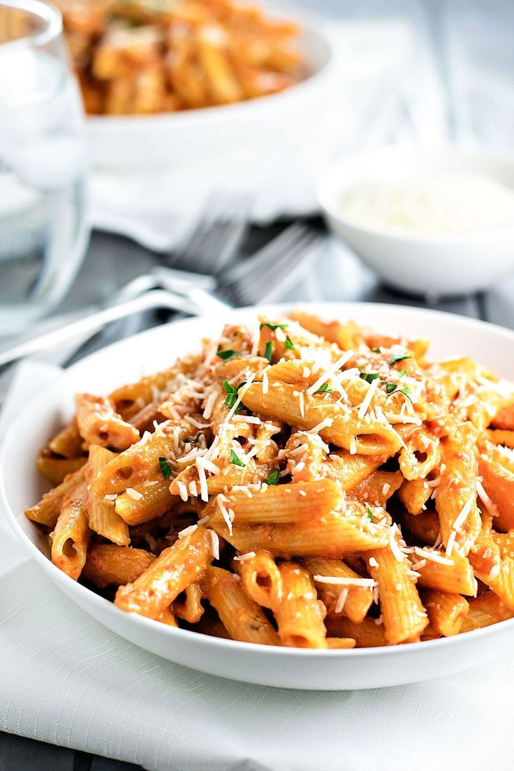 Skip the restaurant and make the best penne alla vodka at home. This recipe has enough tomato to give the sauce a nice kick without overpowering the cream!