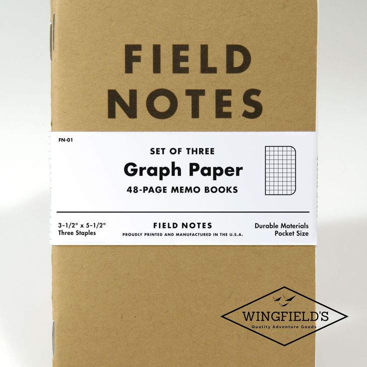 Robust, cleanly-designed and easily-pocketable. Field Notes notebooks have rounded corners, a rugged cardboard cover and are bound with three staples for durability. They are constructed of top quality, crisp white paper and come in either a graph, ruled or plain format.     The Original Kraft memo books are the Field Notes classic, with the brown card cover harking back to their very first edition. Sold as a 3-pack, each memo book contains 48 pages