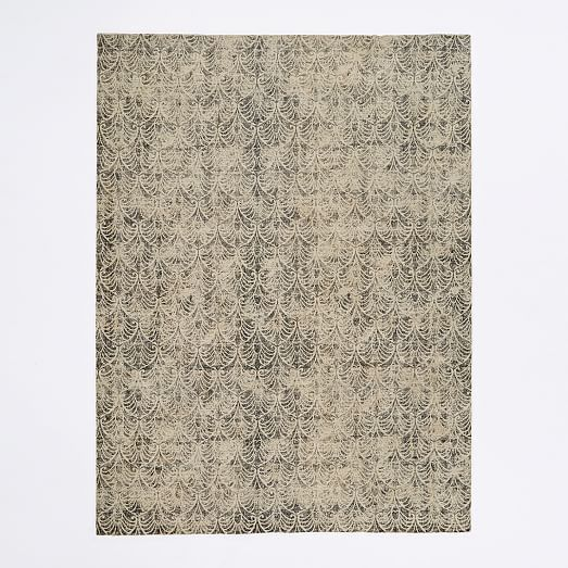 Fans Printed Wool Rug 8 X10 Frost Gray On Sale 699 99