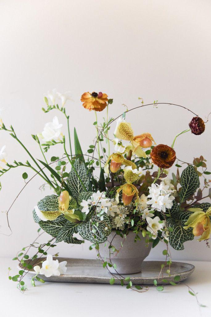 yellow, orange, white and green flower arrangement by Sarah Winward