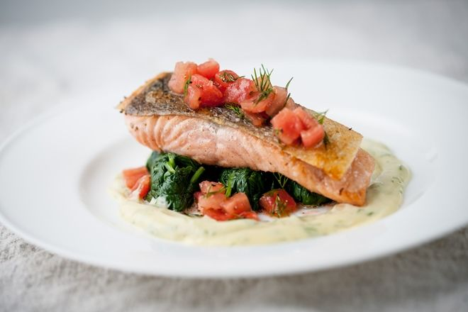 Wild salmon and sesame mustard dressing -  Chef Marcello Tully