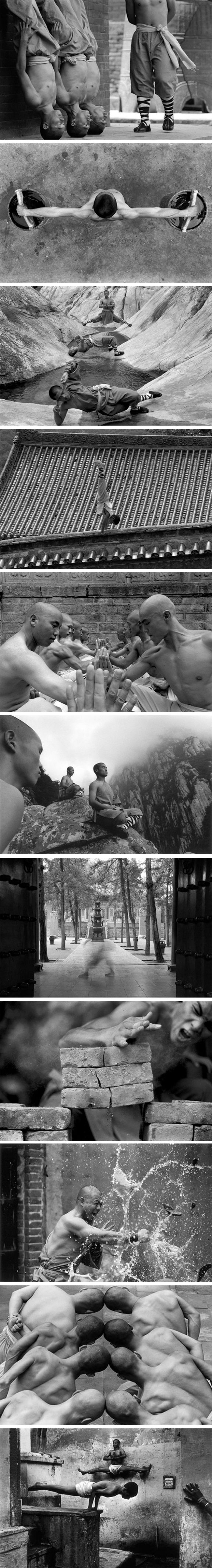 Chinese martial art Shaolin Kungfu Black & white photo