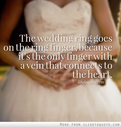 The wedding ring goes on the ring finger, because it's the only finger with a vein that connects to the heart.
