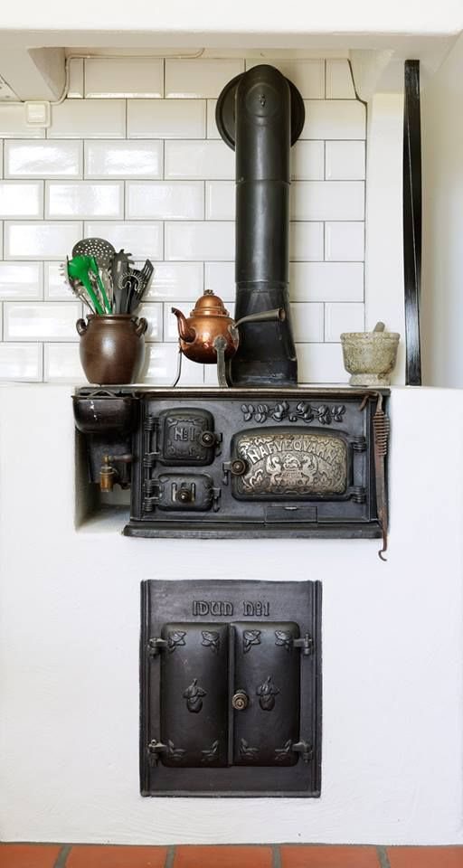 Old wood burning cast iron kitchen stove