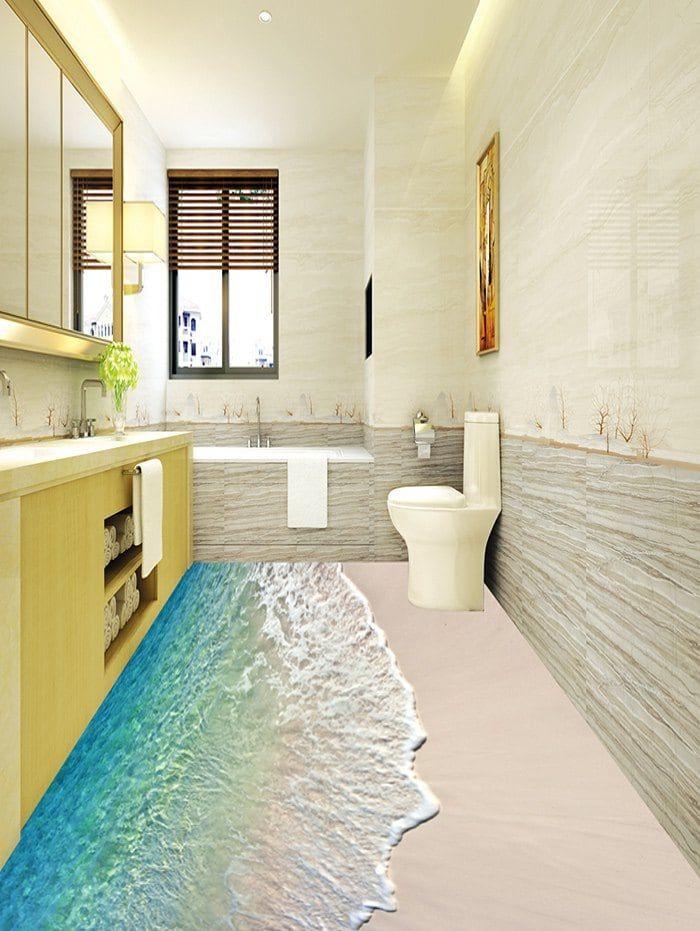 Beach Wave Print Decorative Floor Stickers With Images Floor