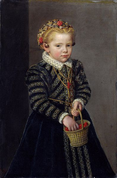 A Little Girl with a Basket of Cherries, unknown Netherlandish artist, 1570s.