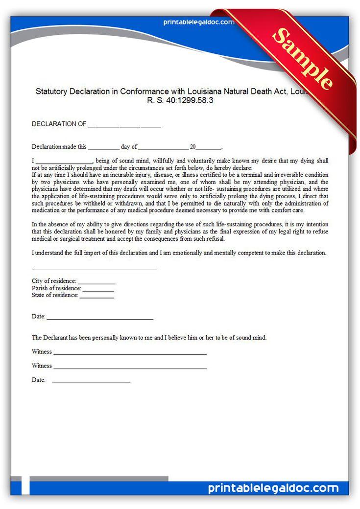 Free Printable Life Sustaining Statute, Louisiana Sample