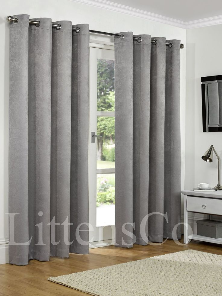 """SW Living 66"""" x 90"""" Silver Grey Heavy Soft Woven Thermal Blackout Pair Curtains Ready Made Eyelet, Ring Top Fully Lined"""