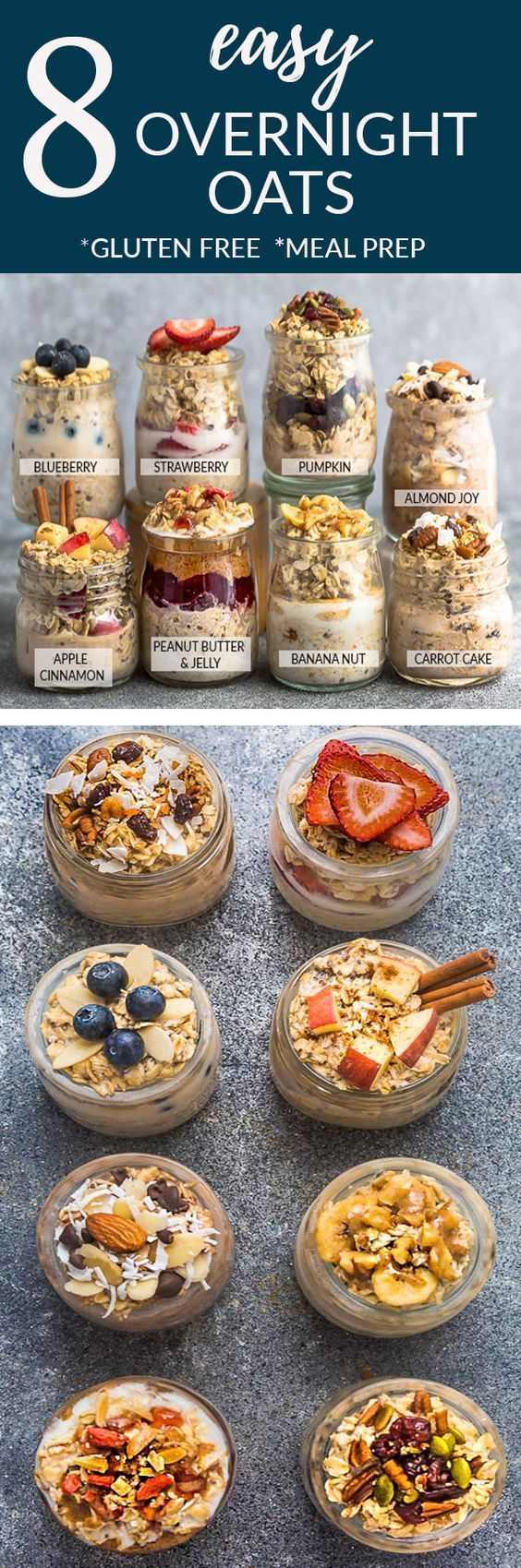 8 Healthy and delicious OVERNIGHT OATS – simple no-cook make-ahead oatmeal perfect for busy mornings. Best of all, gluten free and so easy to customize with your favorite flavors. Super simple to make ahead the night before for meal prep Sunday with less than 5 minutes. Almond Joy, Apple Cinnamon, Banana Nut, Blueberry, Carrot Cake, Peanut Butter & Jelly, Pumpkin Cranberry and Strawberry. #overnightoats #oatmeal #breakfast #glutenfree #recipe #healthy #nocook