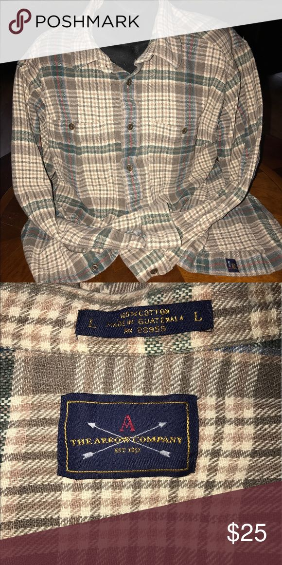 The Arrow Company Cream plaid button down shirt. No stains or tears. Arrow Company Tops Button Down Shirts