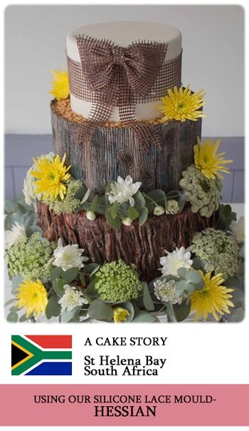 Crystal Candy's HESSIAN silicone lace mould used to make beautiful edible lace for this cake. www.crystalcandy.co.za