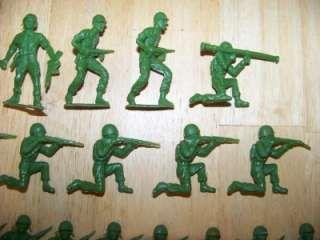 Vintage Toys 1970 | 34 Vintage Plastic Dark Green Army Men Figures MPC Toy Soldiers 1970s