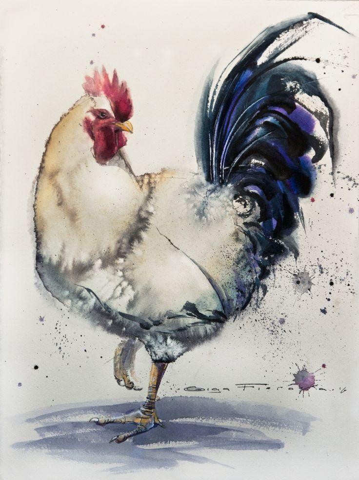 monday's rooster 28*38 sm watercolor on paper @Olga Flerova