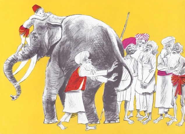 Writer and journalist Anita Sethi writes about the story of the blind men and the elephant, which has inspired many illustrations including this one by Paul Galdone: http://www.jjbooks.com/illustration-series/anita-sethi