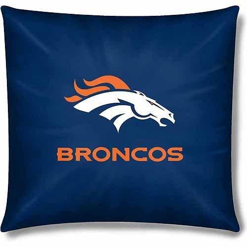 NFL Broncos Throw Pillow 15 Football Themed Accent Pillow Bedroom Sofa Sports Patterned Team Color Logo Fan Merchandise Athletic Spirit Blue Orange White Polyester Cotton