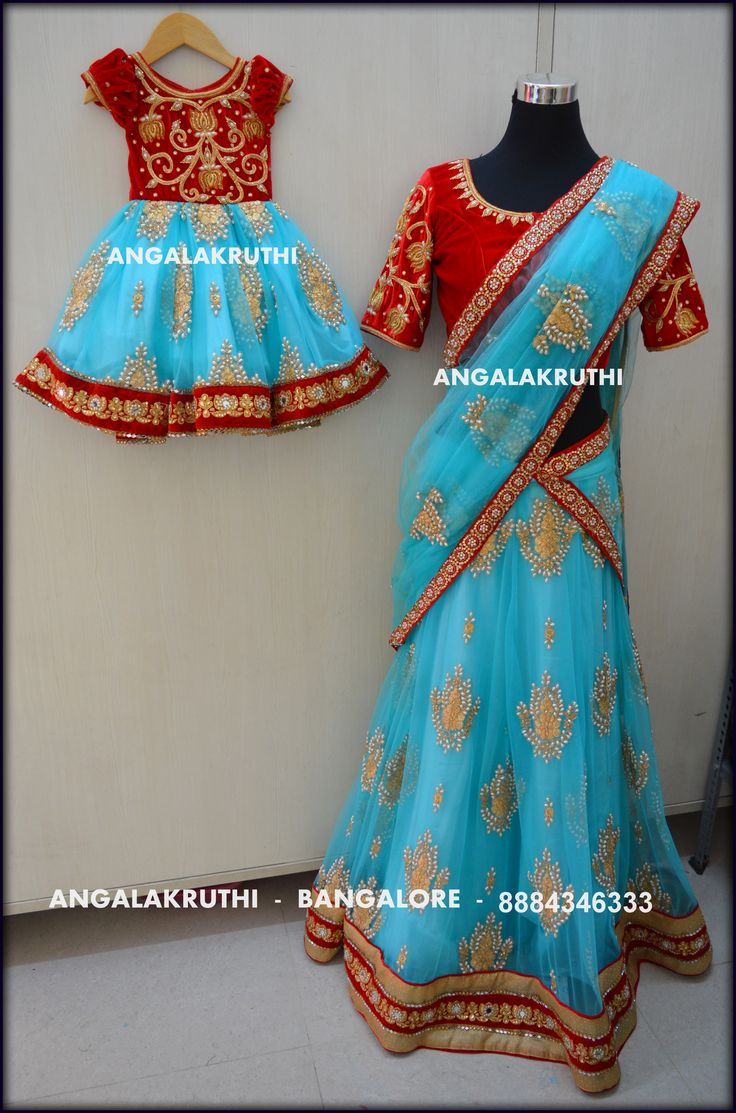 Mom n Me designs in Bangalore by Angalakruthi ##mom and daughter matching dresses
