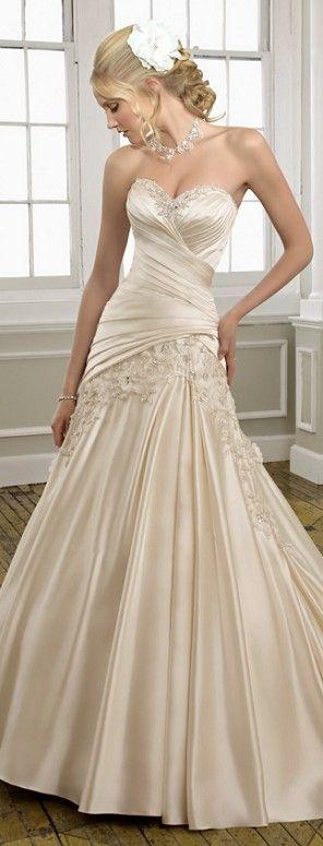 Champagne satin mermaid wedding dress bridal gown size custom 6 8 10 12 14 16 18                                                                                                                                                                                 More