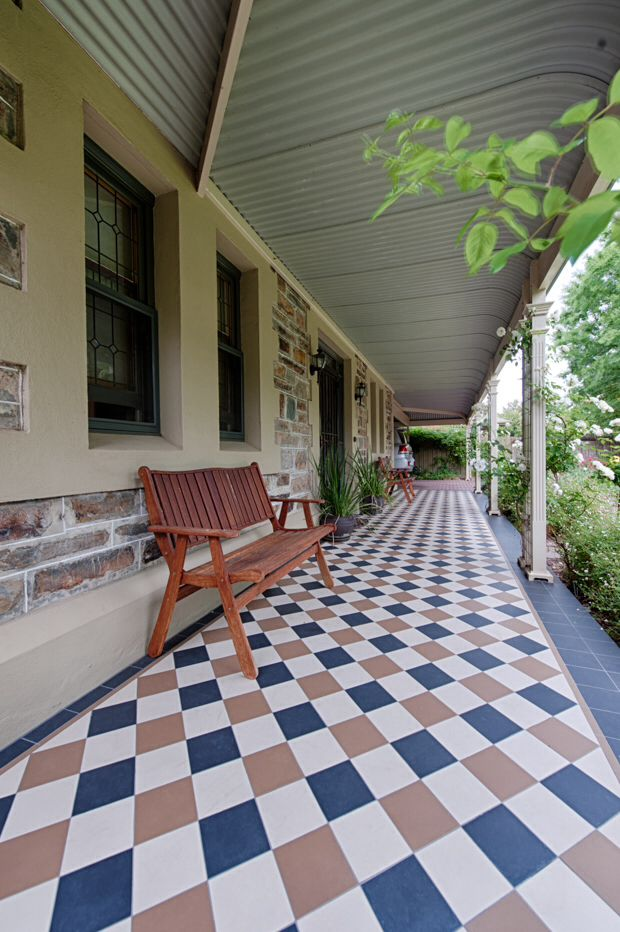 The tessellated tiled verandah ensure the entrance of this Kings Park home is welcoming yet traditional #Deluxe #tiles