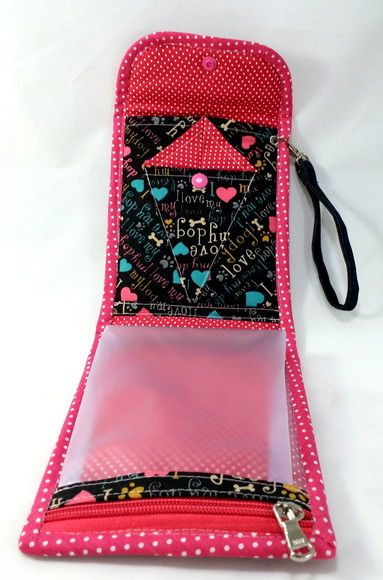 3a9f4a278 Bolsa p/ kit manicure. Em tecido, Estampa Rosa e Preto   Cartera    Tutoriales de bolsos, Costura y Costura facil