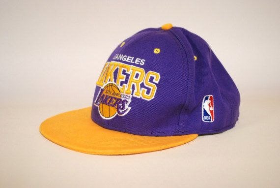 Vintage 90s LA Lakers Hat Basketball Cap NBA Hip Hop Sports Wool Snap Button Up Mitchell & Ness Athletic 1990s Vtg