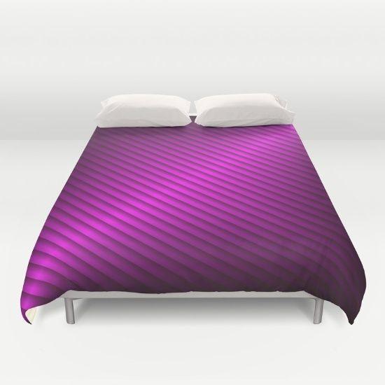 Purple Oblique Stripes Duvet Cover by Elena Indolfi | #Society6