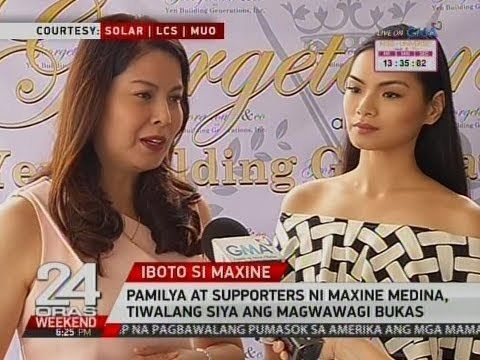 Pamilya at supporters ni Maxine Medina, tiwalang siya ang magwawagi bukas - WATCH VIDEO HERE -> http://philippinesonline.info/entertainment/pamilya-at-supporters-ni-maxine-medina-tiwalang-siya-ang-magwawagi-bukas/   24 Oras is GMA Network's flagship newscast, anchored by Mike Enriquez, Mel Tiangco and Vicky Morales. It airs on GMA-7 Mondays to Fridays at 6:30 PM (PHL Time) and on weekends at 5:30 PM. For more videos from 24 Oras, visit  Subscribe to the GMA News and Public