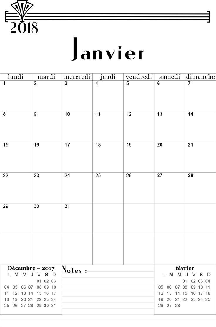 Calendrier janvier 2018 à imprimer gratuitement - Calendriers imprimables PDF