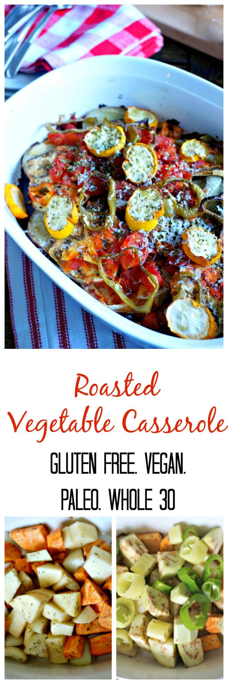 Roasted Vegetable Casserole: A medley of vegetables are tossed with Italian herbs and roasted to perfection, creating the perfect Vegetarian Entree or hearty side dish. #SundaySupper