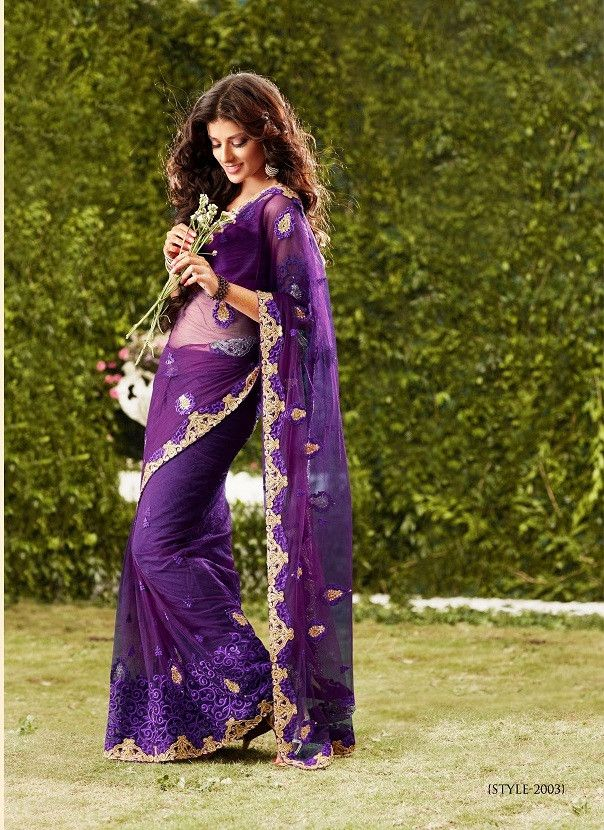 This wine color shaded saree is in gorgette fabric having thread work on it. This saree is from Nakkashi Collection. This saree comes with stitched petticoat, blouse and fall work done.