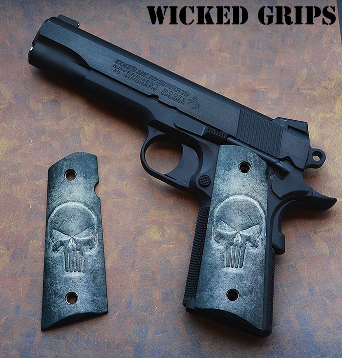 CUSTOM 1911 GRIPS PUNISHER SKULL featuring the original wicked grips punisher skull in 3d! Fits Colt, Kimber, Ruger, Rock Island, Sig, STI and many others