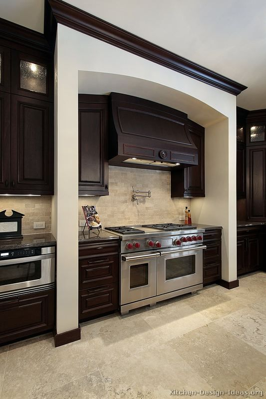 Traditional dark wood black kitchen cabinets 05 - Dark wood cabinets kitchen design ...