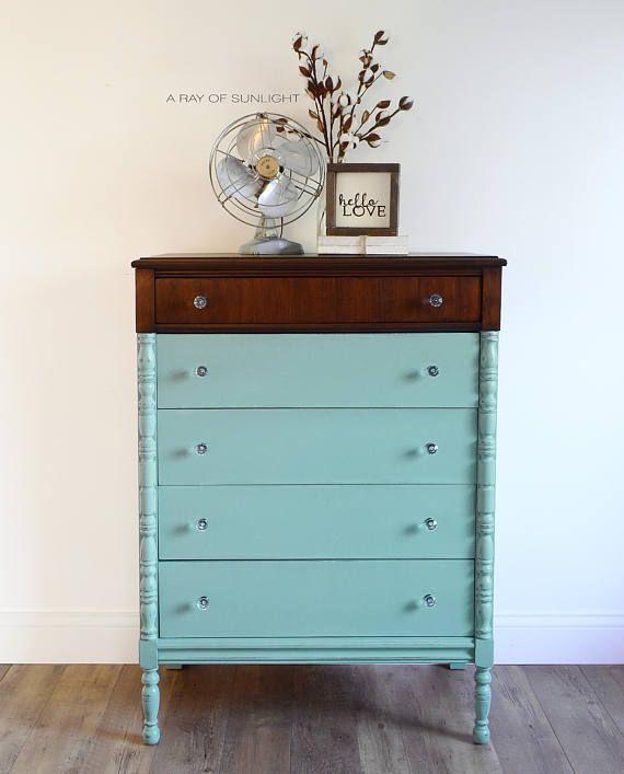 blue painted dresser - painted furniture - vintage blue dresser