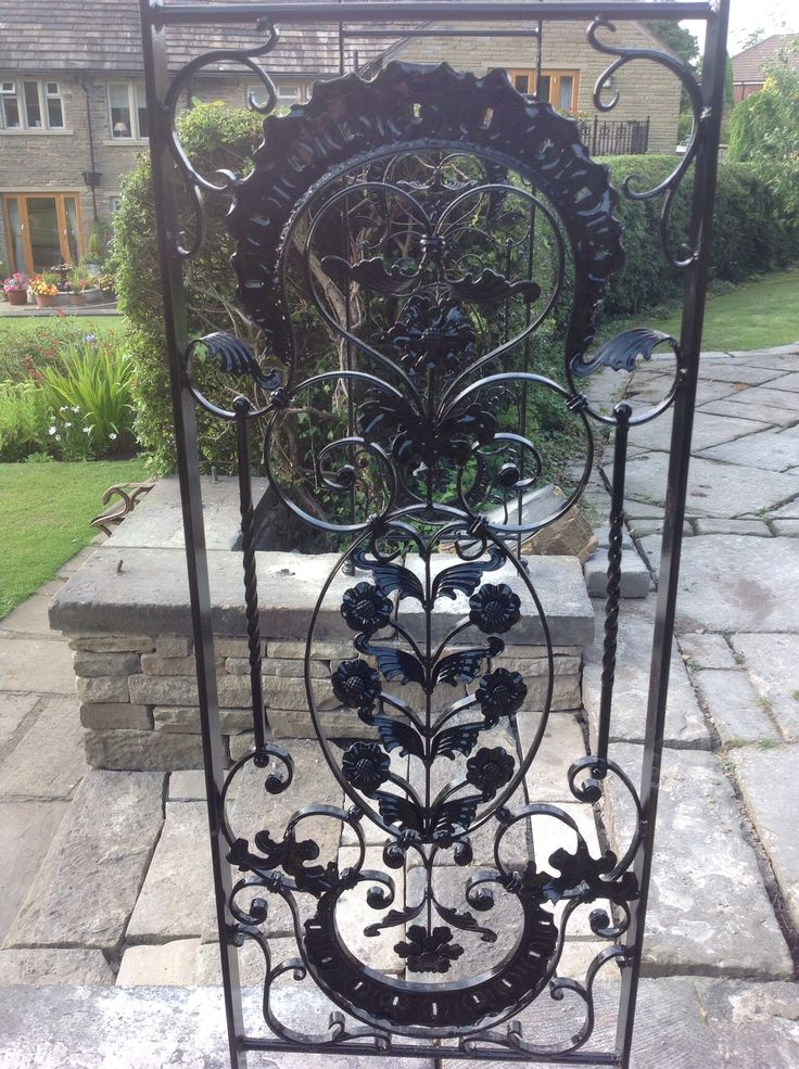 Detail on wrought iron rose arch