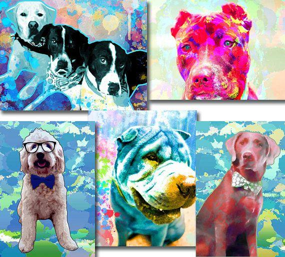 Custom dog Portrait Custom pet portrait Pop art dog
