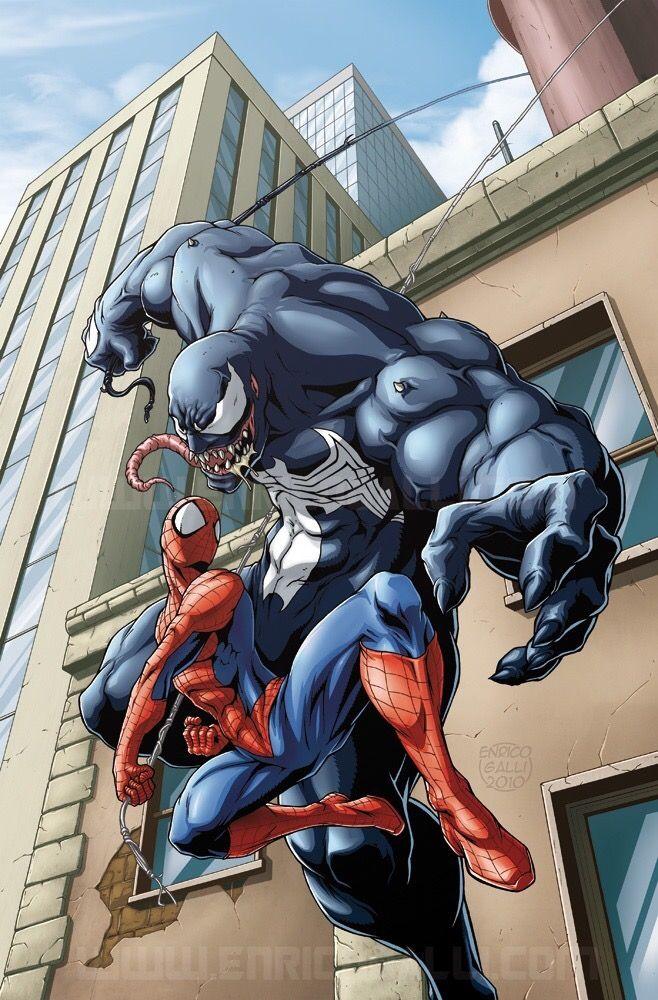 Ilustración Venon vs spider man