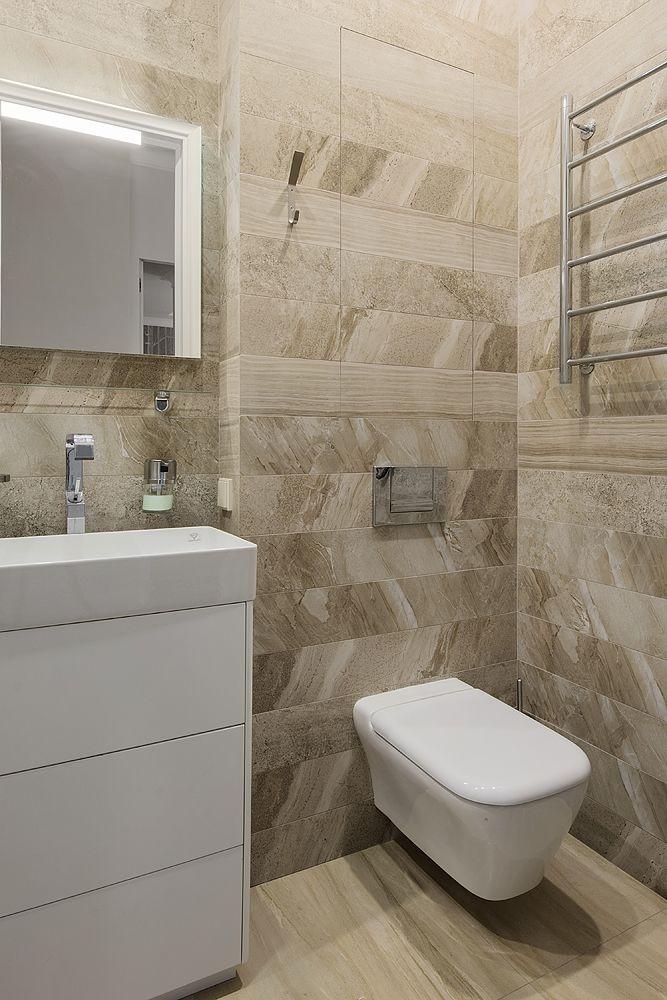Интерьер гостевой ванной комнаты из проекта Трёхкомнатная квартира в современном городском стиле. Автор Насонова Анна
