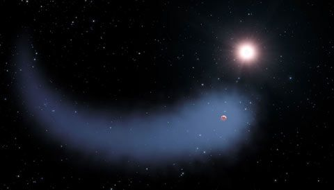 The exoplanet Gliese 436b trails a gigantic cloud of hydrogen, a comet-like tail that's bigger even than the planet's star. Gliese 436b is the smallest planet with such a tail that we've seen.
