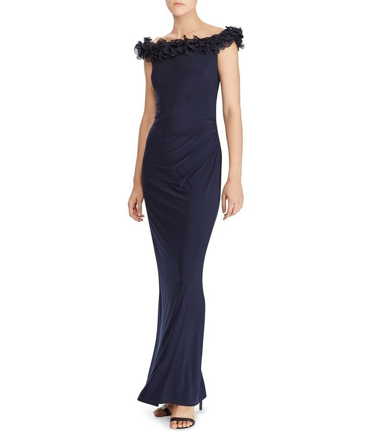 Lauren Ralph Lauren Taffeta Ruffled Neckline Jersey Dress #Dillards