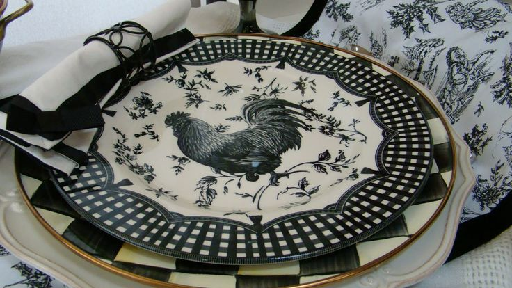 images of black and white checkered fabric with roosters | ... chargers (bottom), MacKenzie-Childs Courtly Check, and Rooster plates