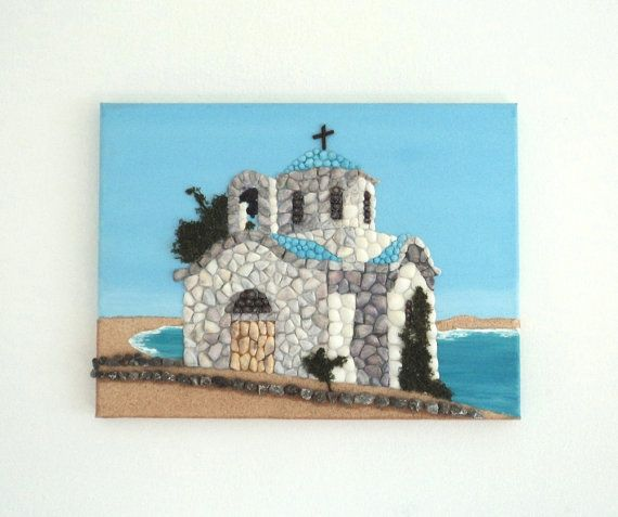 Acrylic Painting, Artwork with Seashells, Chapel by the Sea in Seashell Mosaic on Sand, Mosaic Art, 3D Art Collage, Wall and Home Decor #ArtworkwithSeashells #mosaiccollage #seashellmosaic #homedecor #walldecor #3D