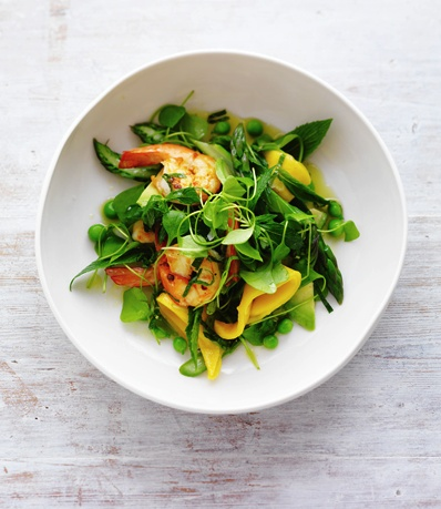 Summer Salads: prawns, mango, pea & asparagus salad with mint dressing. From February marie claire. Photographed by Louise Lister. Recipes and food styled by Kerrie Worner. Props styled by Jane Roarty. Produced by Emma Wheater