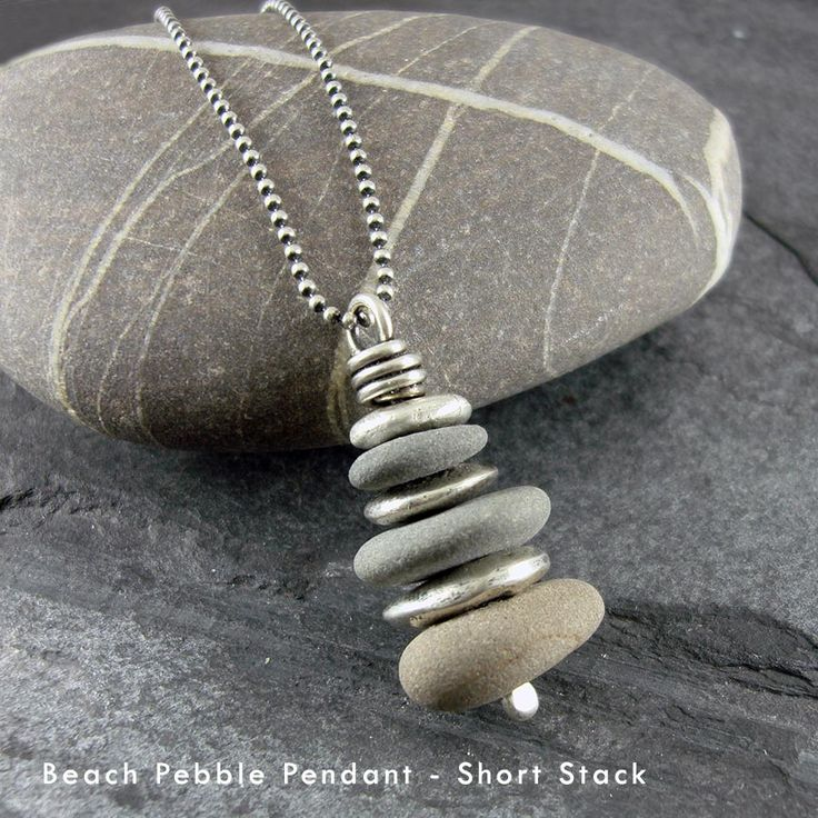 Picture of Beach Pebble & Silver Stack Pendant