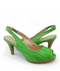 Guacamole - Womens pebble-textured glossy lime green wood-grain slingback peeptoe mid heels $99.00 #shoeenvy #shoes #fashion #instalove #pretty #ethical #glamorous