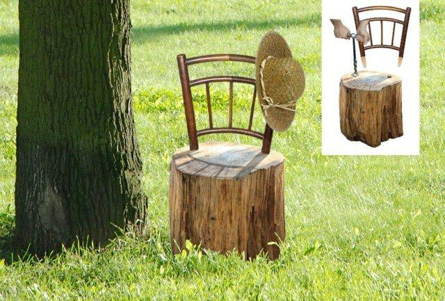 Vue d'une une chaise en bois DIY