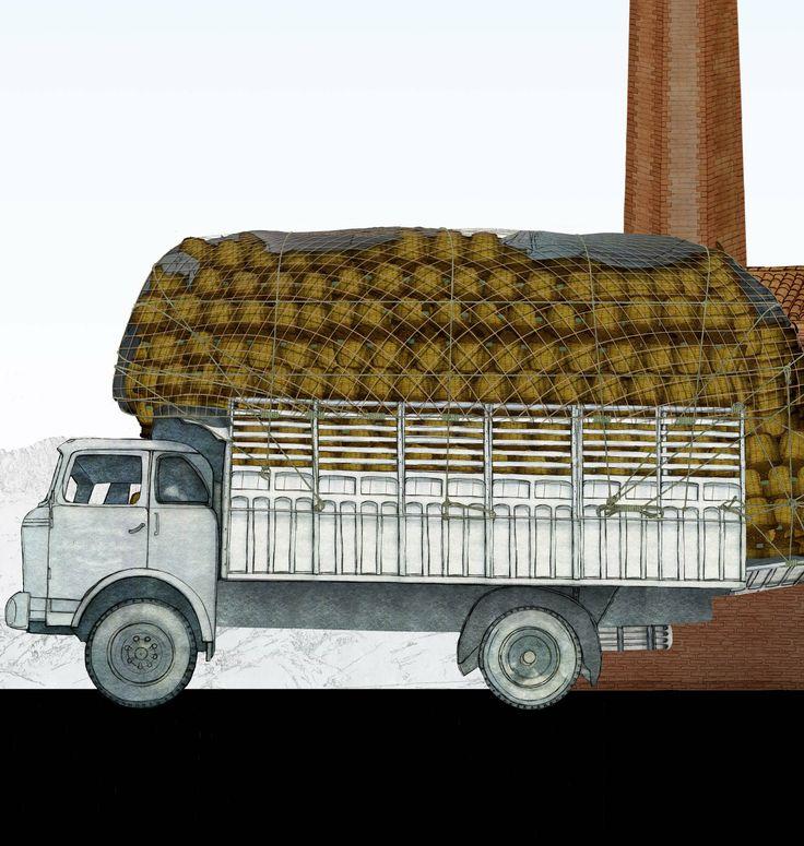 Camió carregat de marraixes / Camión cargado de garrafas