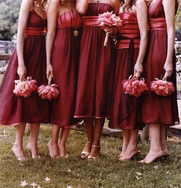 Coral and Dark Red Bridesmaid Dresses