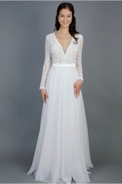 Splývavé svatební šaty s rukávy  lehounké splývavé svatební šaty krajkový živůtek a rukávy zdobené bordurou jemná, splývavá tylová sukně šaty mají všitou podprsenku délka šatů 155cm šaty je možné ušít na míru