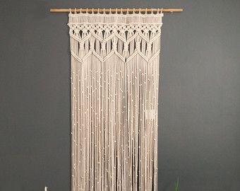 Art fait sur commande de fibre de rideaux macramé par KnotSquared